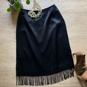 I.N.C. Black Silk Satin Slip Beaded Fringe Skirt